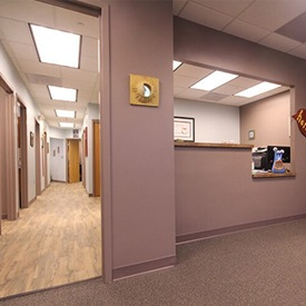 Reception desk and hallway to treatment areas