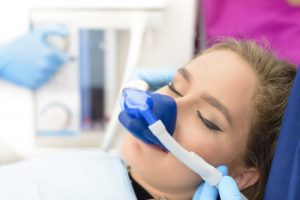 woman relaxed receiving nitrous oxide
